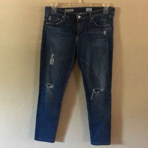 AG The Legging Ankle Distressed Skinny Jeans Sz 30
